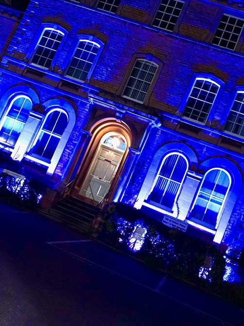 Council offices lit up in blue light